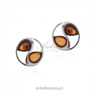 Kolczyki srebrne z bursztynem - Biżuteria srebrna