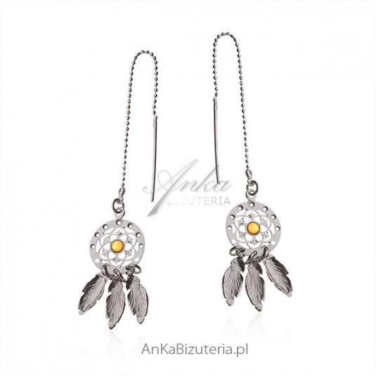 Kolczyki srebrne z bursztynkiem - Biżuteria w stylu boho