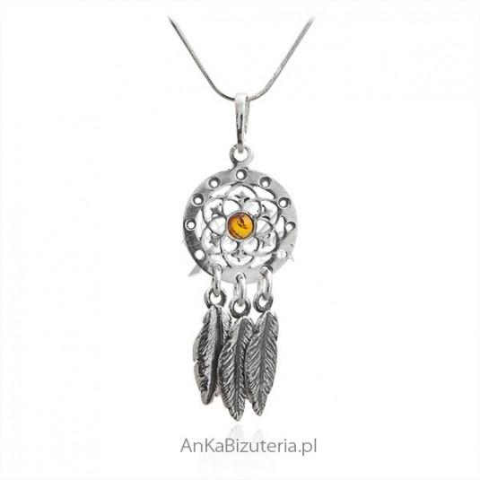 Zawieszka srebrna w stylu boho - biżuteria z bursztynem