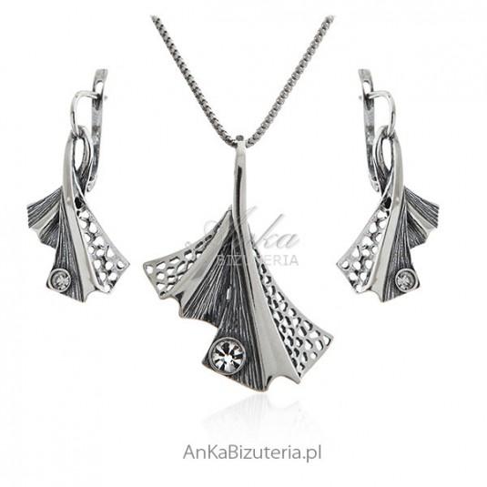 Komplet biżuteria srebrna Liść miłorzębu