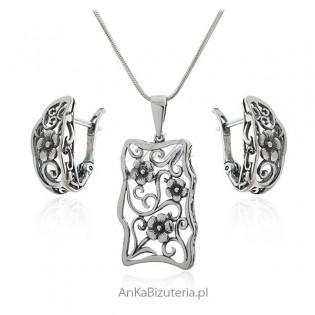 Komplet biżuterii srebro oksydowane