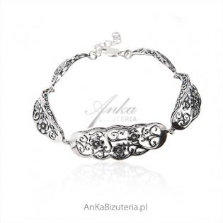 Bransoletka srebrna oksydowana - kwiatki