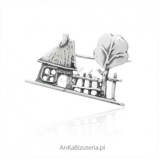 Broszka srebrna Wiejski domek