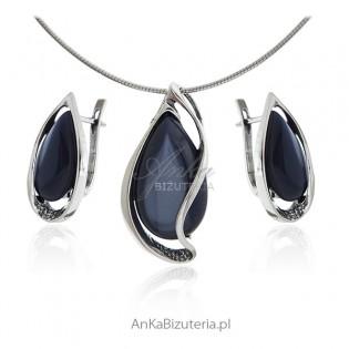 Biżuteria z granatowym uleksytem - biżuteria srebrna komplety sklep internetowy