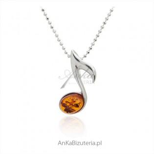 Srebrna nutka - zawieszka srebrna z bursztynem