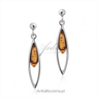 Biżuteria z bursztynem - Kolczyki srebrne
