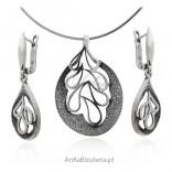 Komplet biżuterii srebrny oksydowany