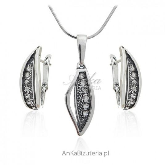 Komplet biżuteria srebrna z cyrkoniami