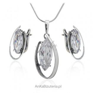 Komplet biżuterii srebrnej z cyronią