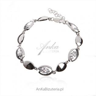 Bransoletka srebrna z cyrkoniami Biżuteria na Prezent
