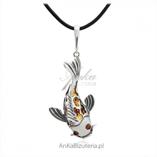 Oryginalna biżuteria z bursztynu i srebra - Rybka