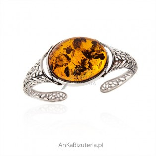 Elegancka bransoletka srebrna z bursztynem