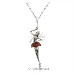Zawieszka srebrna baletnica z bursztynem