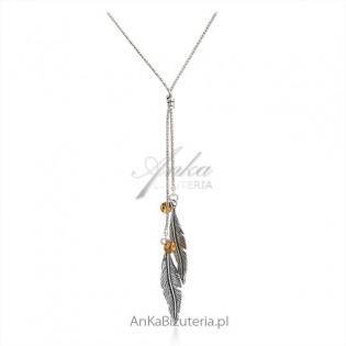 Naszyjnik srebrny piórko z bursztynem Modna biżuteria
