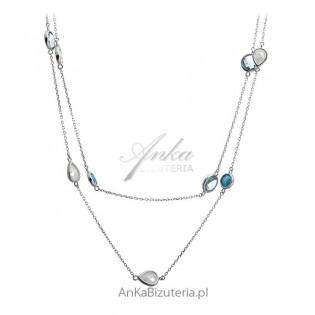Naszyjnik srebrny z kolorowymi cyrkoniami - biżuteria włoska