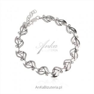 Bransoletka srebrna oksydowana z cyrkoniami