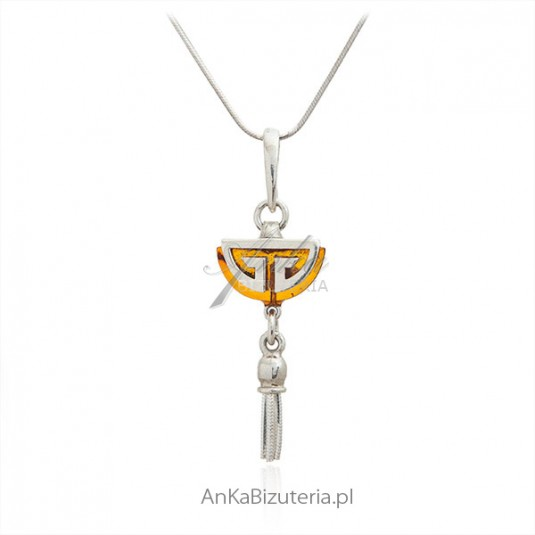 Naszyjnik srebrny z bursztynem - Oryginalna biżuteria