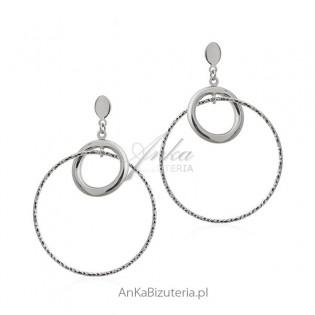 Kolczyki srebrne duże koła diamentowane - Biżuteria srebrna włoska