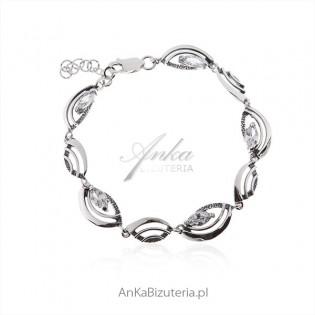 Bransoletka srebrna z cyrkoniami - Biżuteria srebrna na prezent