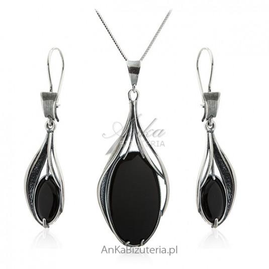 Komplet biżuteria srebrna z czarnym kamieniem