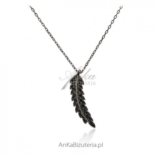Naszyjnik srebrny z cyrkoniami -Listek - pokryty rutenem