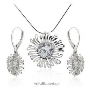 Komplet biżuterii srebrny z cyrkoniami