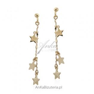 Kolczyki srebrne pozłacane gwiazdki