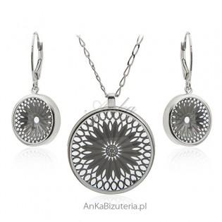 Biżuteria srebrna komplet - Piękna koronkowa biżuteria