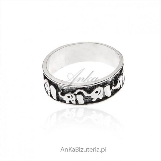 Obrączka srebrna oksydowana Słoniki na prezent