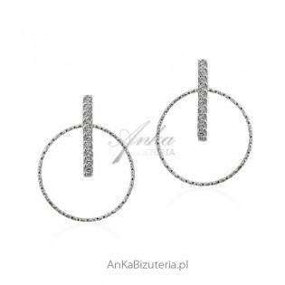 Kolczyki srebrne podusznice - rodowane i diamentowane z cyrkoniami