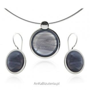 Biżuteria srebrna komplet okrągły z granatowym uleksytem