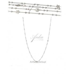 Długi naszyjnik srebrny z białymi perełkami 90 cm