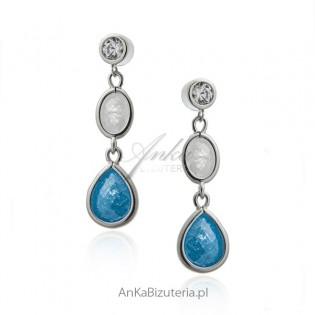 Kolczyki srebrne z niebieską i białą cyrkonią