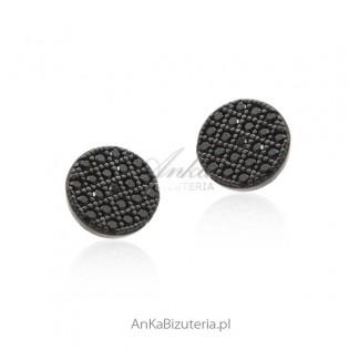 Kolczyki srebrne z czarnymi cyrkoniami