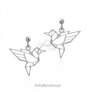 Kolczyki srebrne origami Rajski ptak