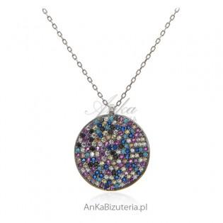 Naszyjnik srebrny z kolorowymi cyrkoniami i turkusami - Piękny