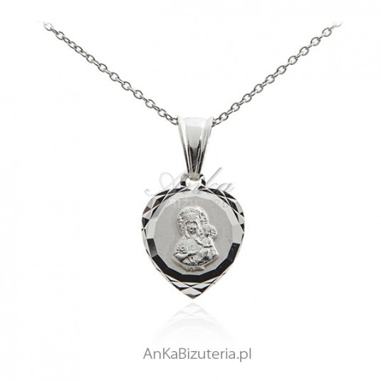 Medalik srebrny Matka Boska Częstochowska - w serduszku