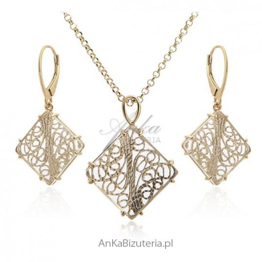 Komplet biżuteria srebrna pozłacana - Niespotykana biżuteria