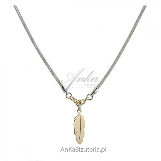 Naszyjnik srebrny włoski z pozłacanym piórkiem