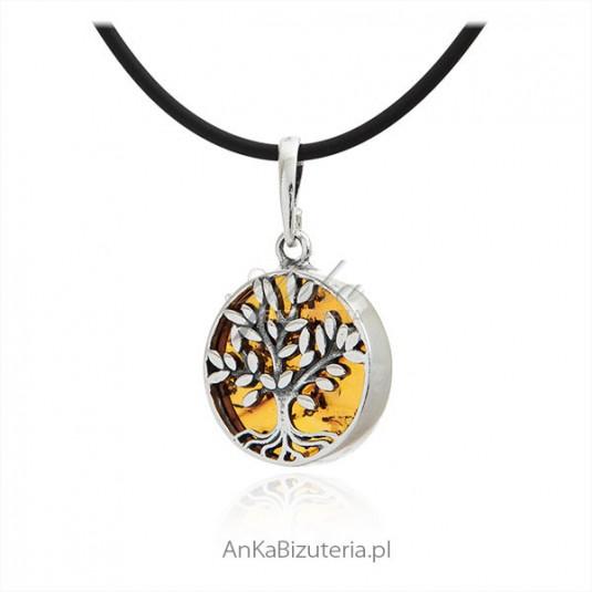 e3ba26a43096 Zawieszka srebrna z bursztynem drzewko szczęścia Biżuteria srebrna z ...