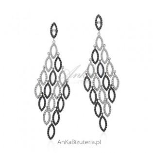 Długie kolczyki srebrne z cyrkoniami - piękne kaskady