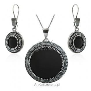 Komplet biżuteria srebrna oksydowana z onyksem