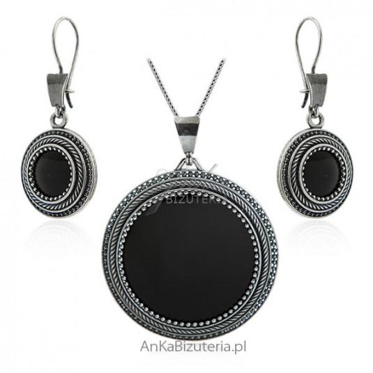 e0540989cba62b Komplet biżuteria srebrna z onyksem Duża biżuteria srebrna