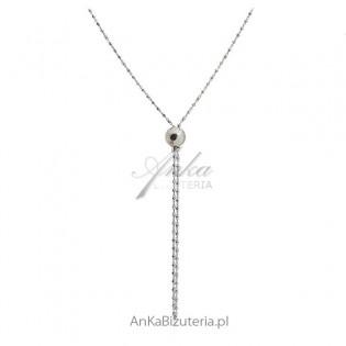 Długi naszyjnik srebrny rodowany z kulką - długi krawat regulowany