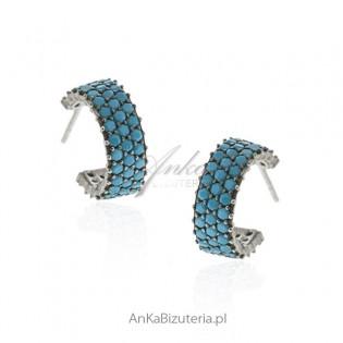 Kolczyki srebrne z turkusami - modna bizuteria