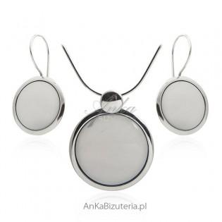 Komplet biżuteria srebrna z białym kamieniem uleksytem