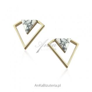 Kolczyki srebrne pozłacane z howlitem