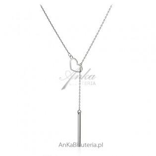 Naszyjnik srebrny długa celebrytka - krawat Modna biżuteria