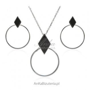 Komplet biżuterii srebrny z czarnym onyksem
