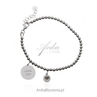 Bransoletka srebrna z przesłaniem - CARPE DIEM